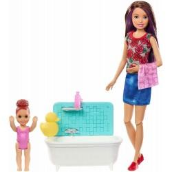 MATTEL - Barbie FXH05 - Skipper Babysitter con Vasca da Bagno