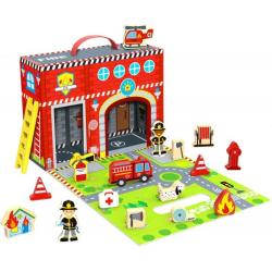 Tooky Toy Scatola di legno Stazione Pompieri